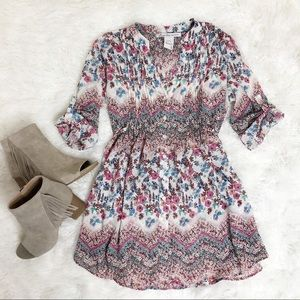 American Rag pink blue floral button down tunic
